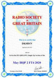 Platz 3 beim Projekt Hoffnung der Radio Society of Great Britain