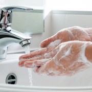 Washing hands.